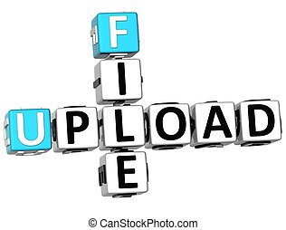 3D  Flie Upload Crossword on white background