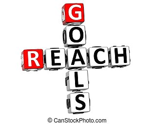 3D Reach Goals Crossword on white background