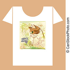 childish t-shirt design with cat and butterfly