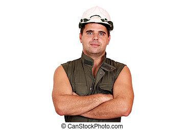 oil worker posing