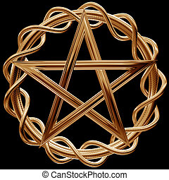 Golden pentagram - Illustration of an ornate gold pentagram...