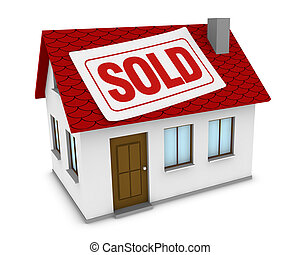 house sold - one house with a label with the word sold on...