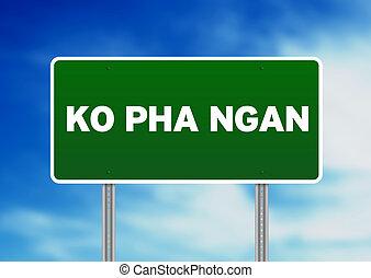 Green Road Sign - Ko Pha Ngan, Thailand - Green Ko Pha Ngan,...