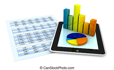 financial analysis - one paper with a spreadsheet and a...
