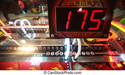 slot machine close-up with flashing bulbs - colorful slot...