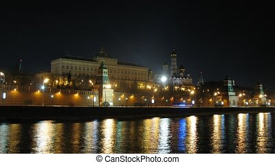 Embankment near Moscow Kremlin at night, zoom in, time lapse
