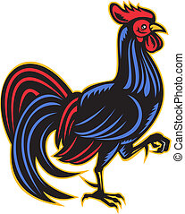 rooster cockerel marching side woodcut - illustration of a...