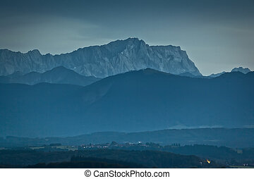 Zugspitze - The Zugspitze in Bavaria Germany by night