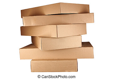 boxes arranged in stack - Brown cardboard boxes arranged in...