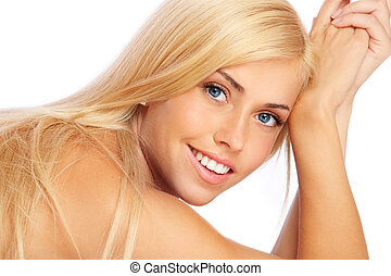 Natural beauty - Beautiful happy smiling girl with clear...