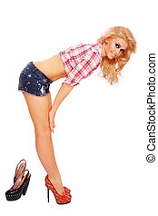 Blonde with stilettos - Young beautiful sexy smiling blond...