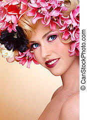 Blooming - Portrait of young beautiful smiling girl with...