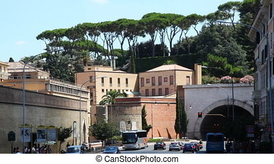 Many cars on street near crossroad in city center - ROME -...