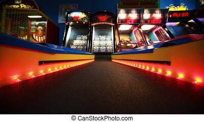 colorful path with red bulbs to slot machine, child slots,...