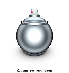 funny 3d render of ball shaped spray-can