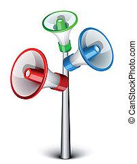 Megaphones - Three megaphones on the pole