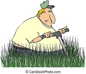 Man Mowing Tall Grass - This illustration depicts a man...