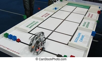 Robot is sort bricks by color and shape at ROBOFEST-2011 -...