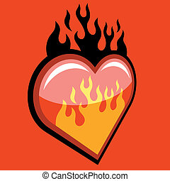 Flaming Heart on red background