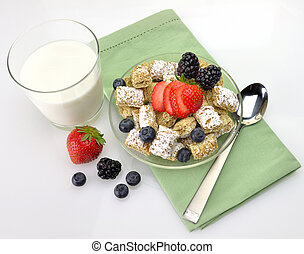healthy breakfast,Shredded Wheat Cereal with fruits and...