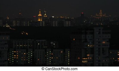 Moscow city center at night, view from roof, time lapse