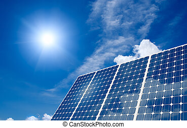 Solar panel and sun - Solar panel harness energy of the sun