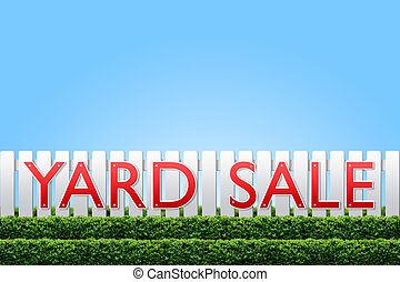 Yard Sale sign on white fence and blue sky