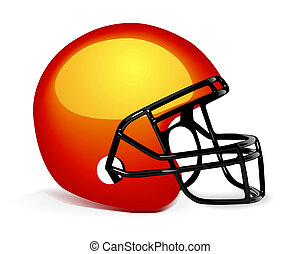 Football Helmet on white - orange american football helmet...