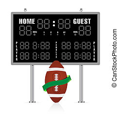American football ball with ribbon and scoreboard