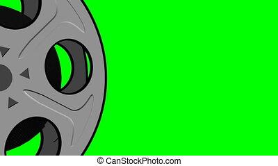 Film Reel on Green Screen Loop 2 - Old Fashioned Film Reel...