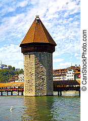 Chapel Bridge Tower in Lucerne, Switzerland