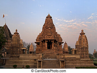 Hindu temple, built by Chandela Rajputs - The early morning...