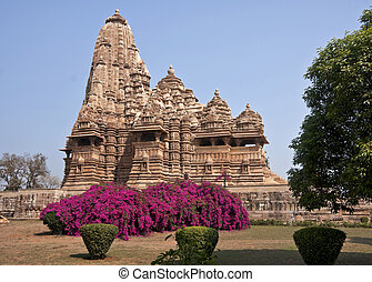 Hindu temple, built by Chandela Rajputs - Beige brown wonder...