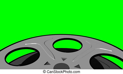 Film Reel on Green Screen Loop - Old Fashioned Film Reel on...