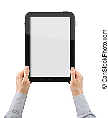 Holding Tablet PC - Businessman hands are holding the touch...