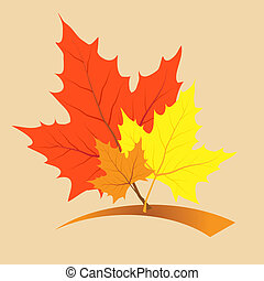 Multi-colored maple leaves in the light of sun patches of...