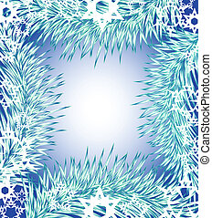 New Year's background in the form of a framework from snow-covered branches of a fir-tree