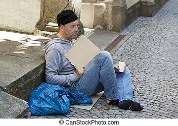 Unemployed homeless beggar