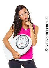 Woman is dissatisfied with body weight - A young woman is...