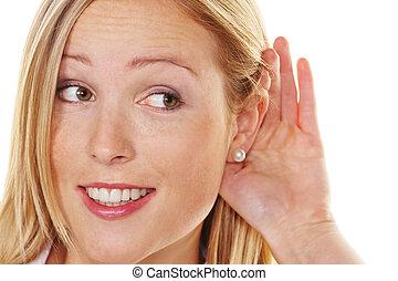 joven, mujer, Escuchar