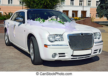 wedding car on a background architecture