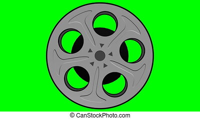 Film Reel Loop On Green Screen