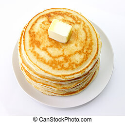 Golden pancakes with butter