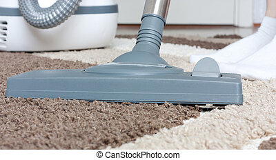 Vacuum cleaner brush on a carpet with large pile close up