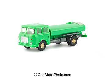 Toy fuel tanker truck - Green toy fuel tanker truck isolated...