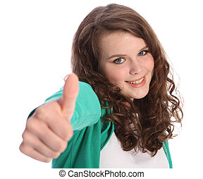 Beautiful smile of success by pretty teenager girl