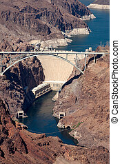View of the Hoover dam and bridge
