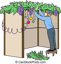 Jewish Guy Builds Sukkah For Sukkot - A vector illustration...
