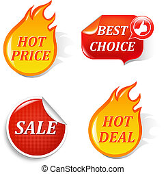 Sale Labels, Isolated On Black Background, Vector...