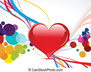 bstract coloful heart with wave vector illustration
